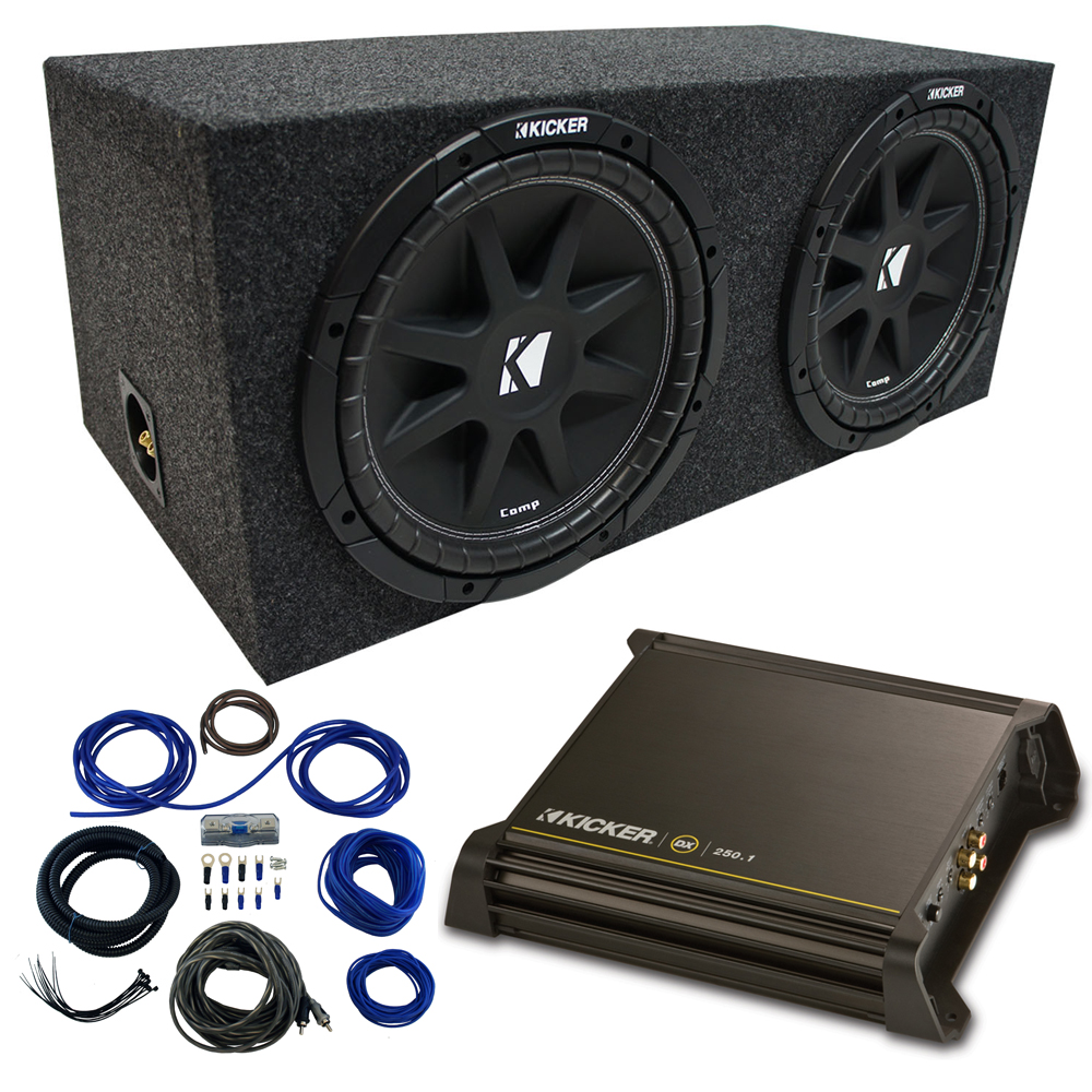 "Dual 12"" Kicker CompC Sub Package with Kicker 11DX250.1 Refurbished Amp & Sealed Enclosure"