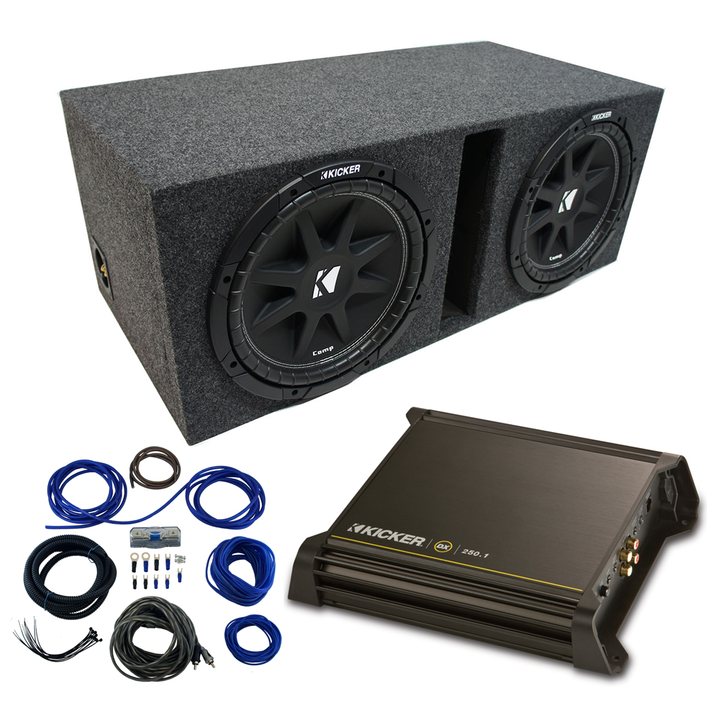 "Dual 10"" Kicker CompC Sub Package wth Kicker 11DX250.1 Refurbished Amp & Vented Enclosure"