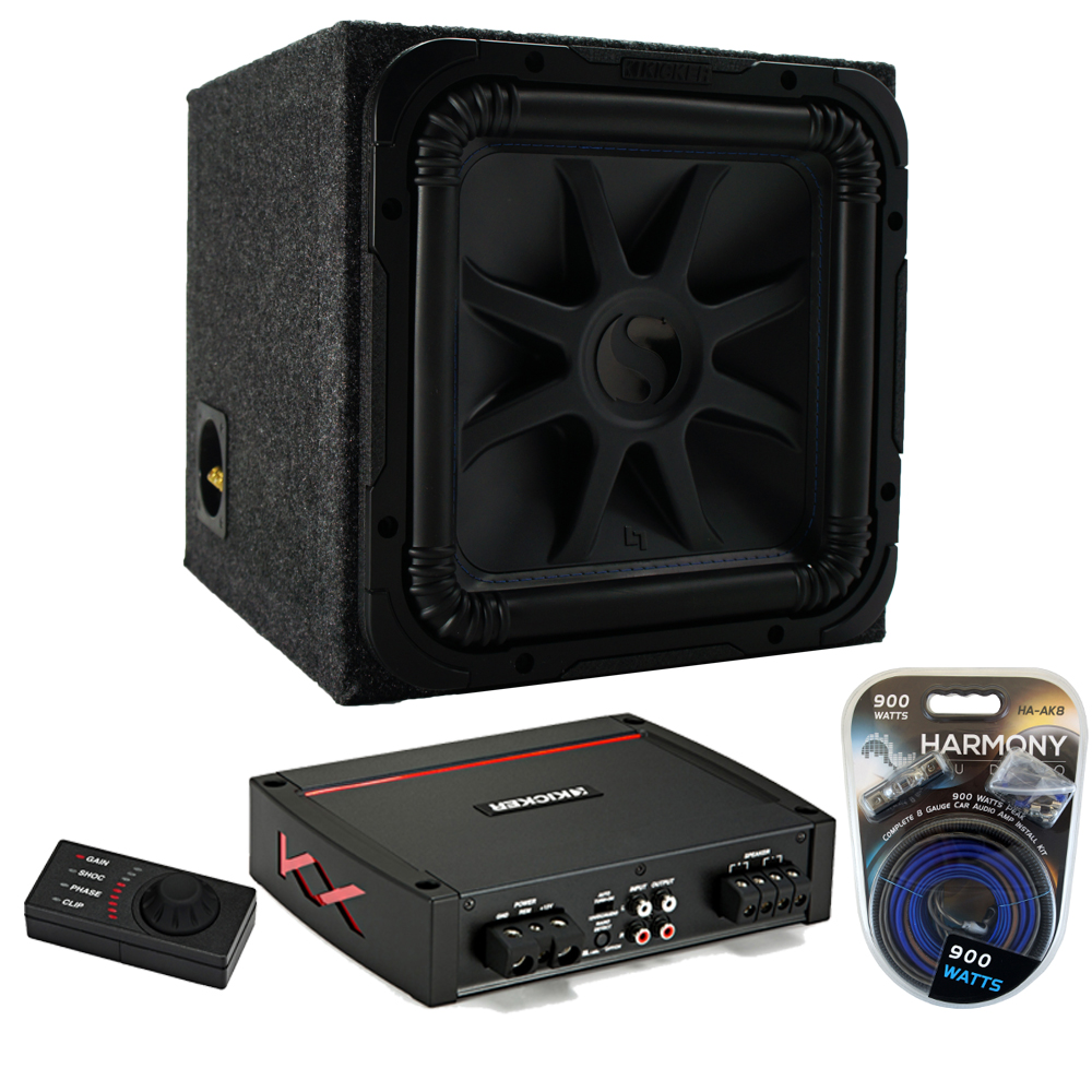 "Kicker Refurbished 12"" L7S 2 Ohm DVC Sealed Enclosure with Refurbished KXA800.1 Amp & Amp Kit"