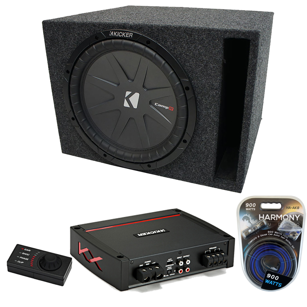 "Kicker 15"" CompR 4 Ohm DVC Vented Enclosure KXA800.1 Amp & Amp Kit"