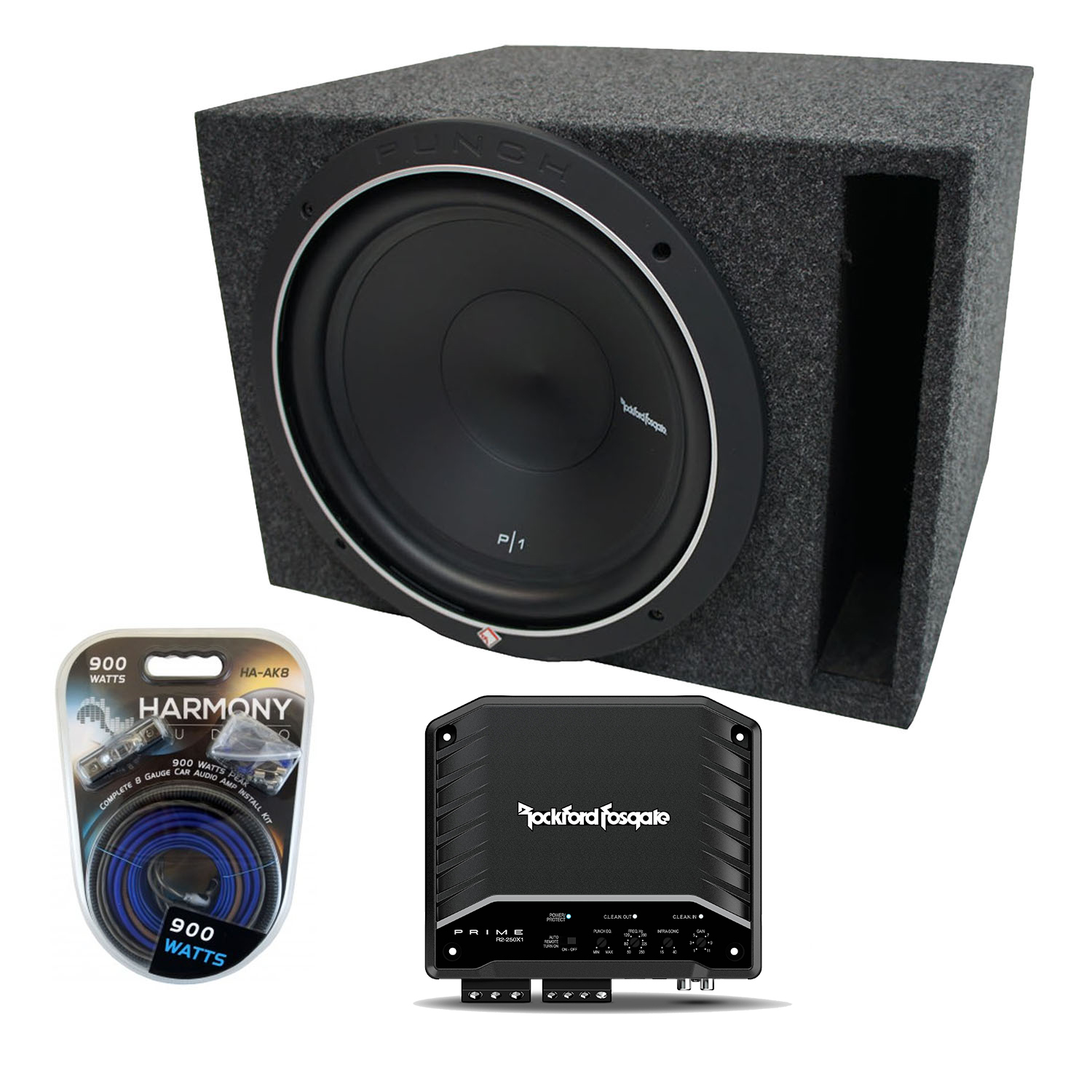 "Universal Car Stereo Vented Port Single 15"" Rockford Punch P1S215 Sub Box Enclosure & R250X1 Amp"