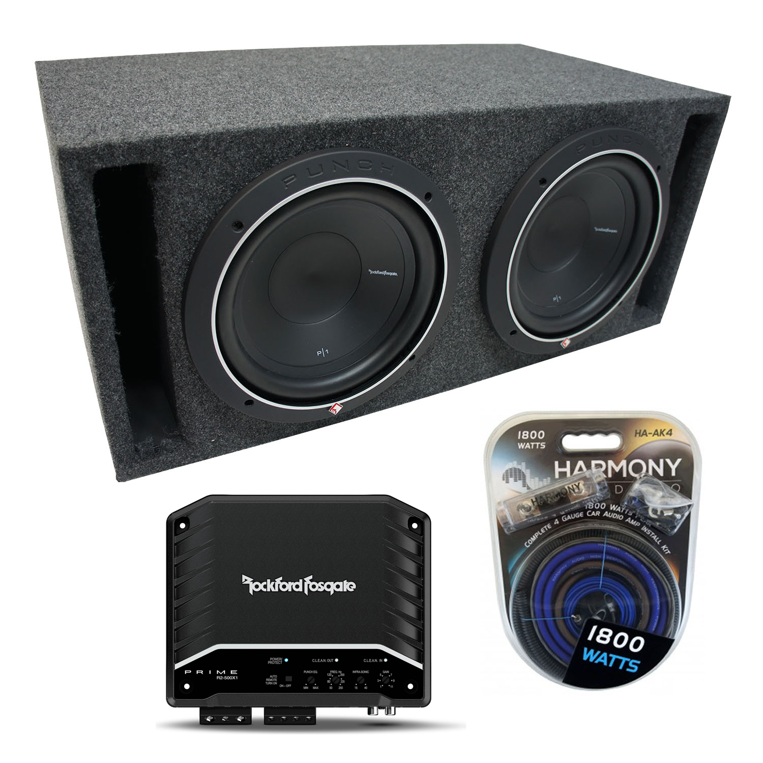 """Universal Car Stereo Slotted S Port Dual 15"""" Rockford Punch P1S415 Sub Box Enclosure & R500X1D Amp"""