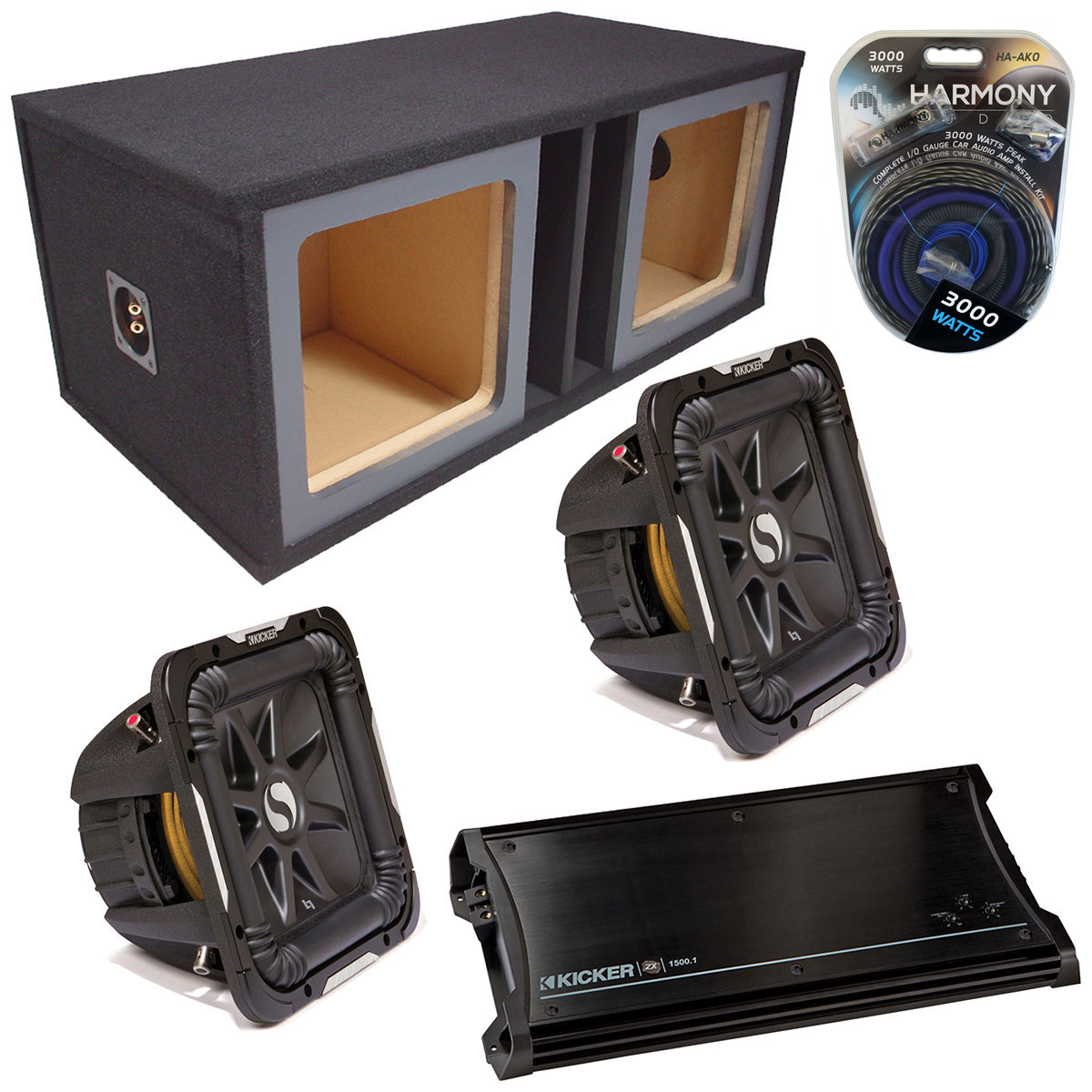 "Kicker Car Stereo Loaded Dual 15"" Square Custom S15L7 L7 Vented Subwoofer Enclosure Sub box with ZX1500.1 Amplifier & 1/0GA Amp Kit"