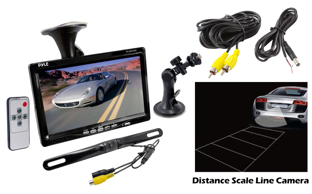 "PYLE PLCM7500 7"" Window Suction TFT/LCD Video with Rearview Backup Camera & Window Mount Bracket"