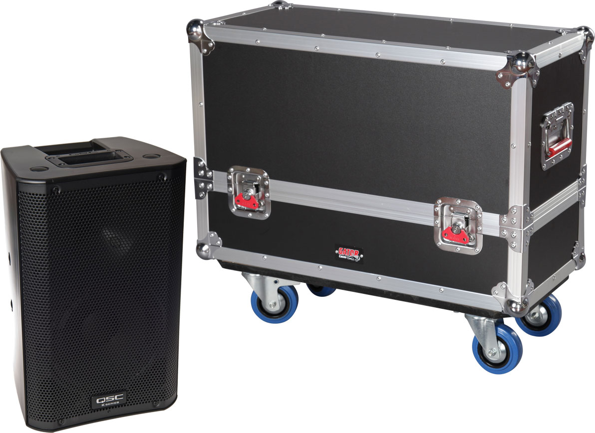 Gator Cases G-TOUR SPKR-2K8 Tour style case to hold (2) QSC K8 speakers. Accessory compartment for cables and connectors.