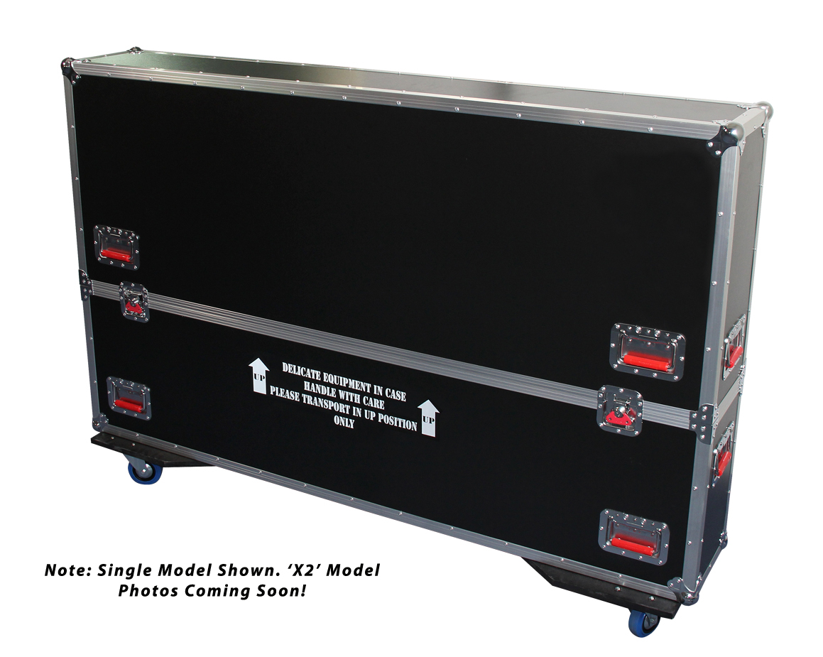 Gator Cases G-TOURLCDV2-6065-X2 G-TOUR case designed to easily adjust and fit two LCD, LED or plasma screens in the 60 to 65 inch class. Interior dims 62.5 X 6.3 X 36 (X2) (Available Q4 2012)
