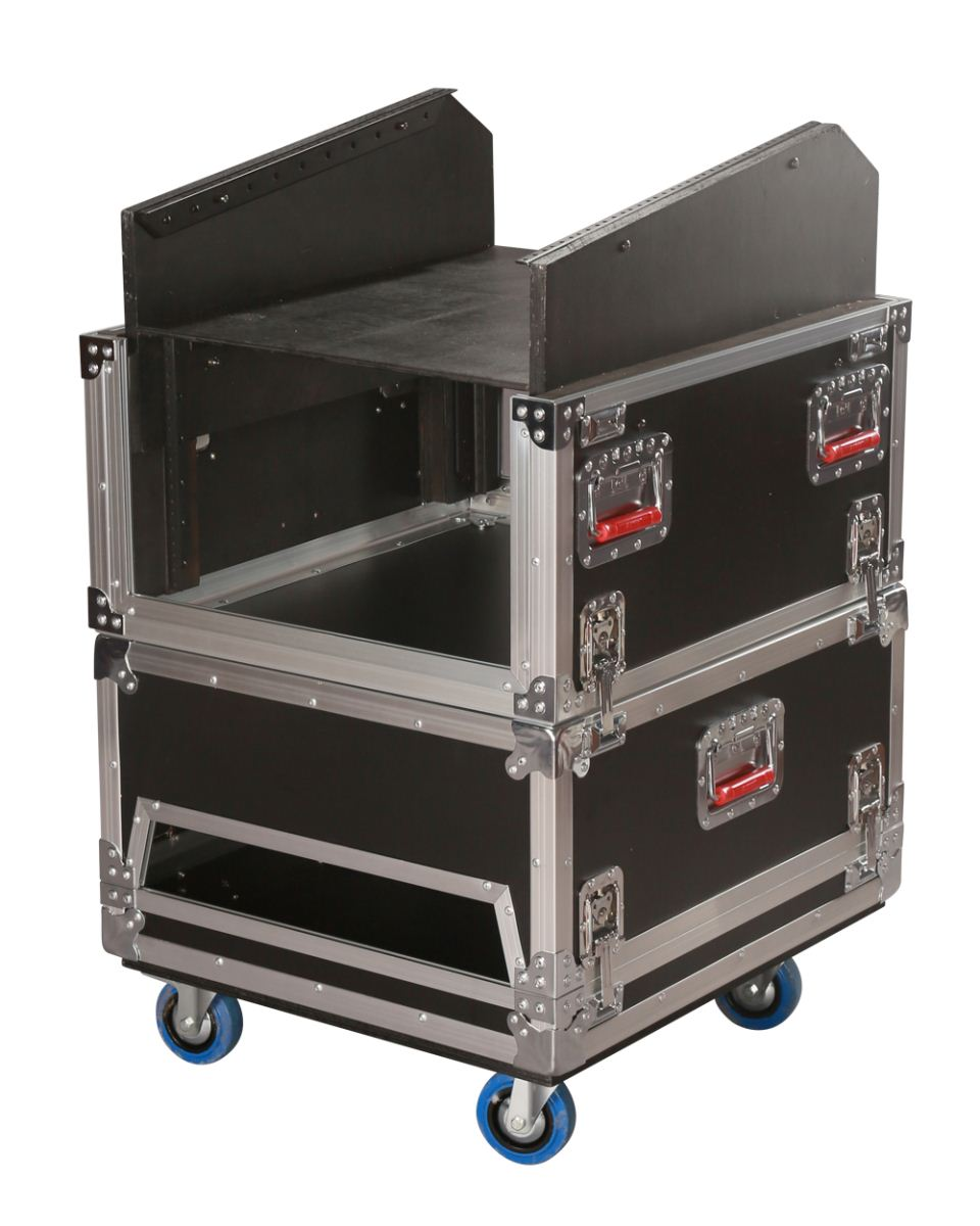 Gator Cases G-TOUR-GRC-1406 14U Top 6U Side Audio Console Rack with Twist Latches