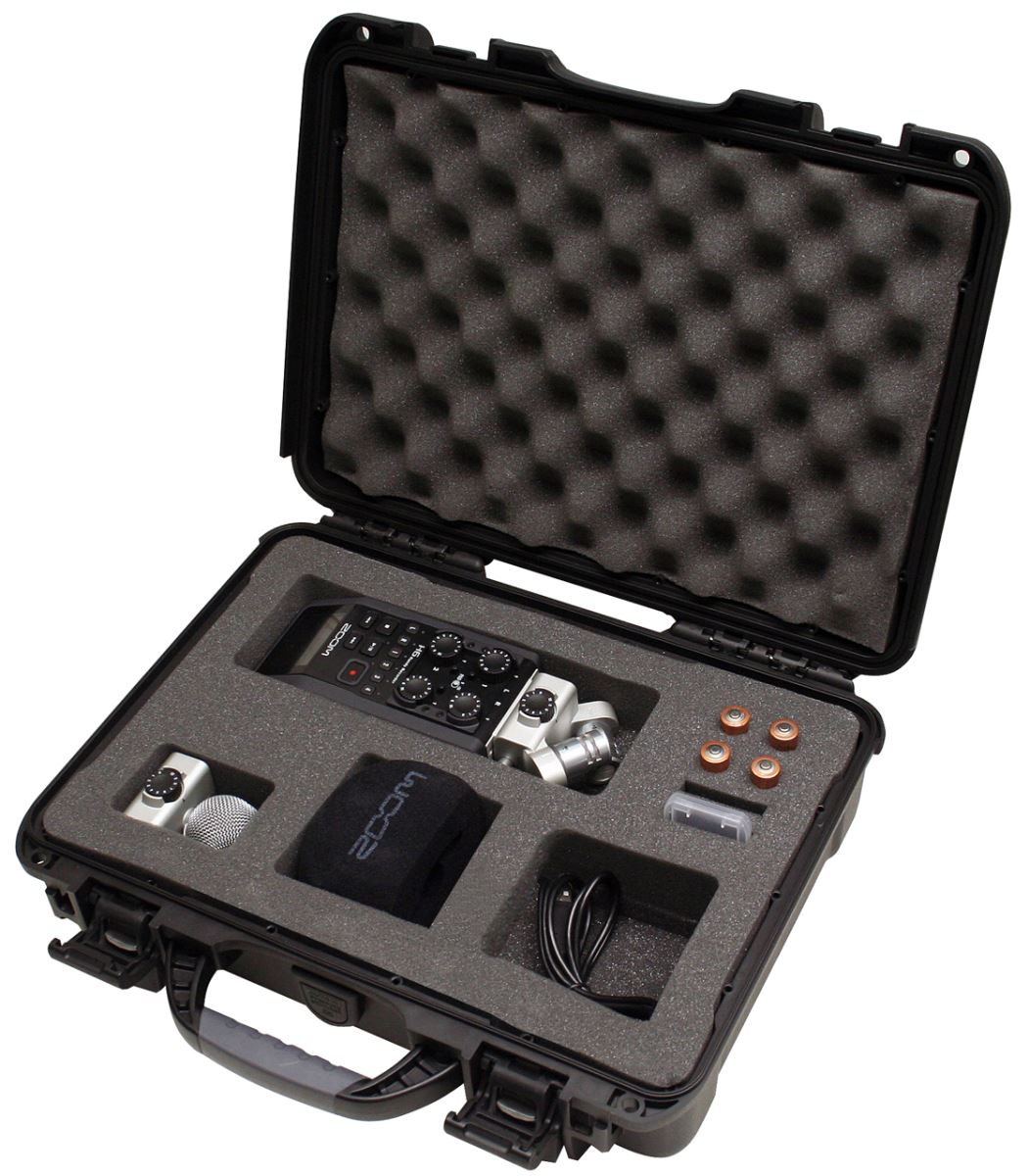 Gator Cases GU-ZOOMH6-WP Black Waterproof Injection Molded Case Fits Zoom H6 Recorder & Accessories