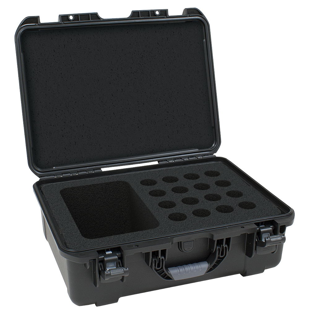 Gator Cases GM-16-MIC-WP Black waterproof injection molded case with foam insert to accommodate 16 handheld mics and accessories