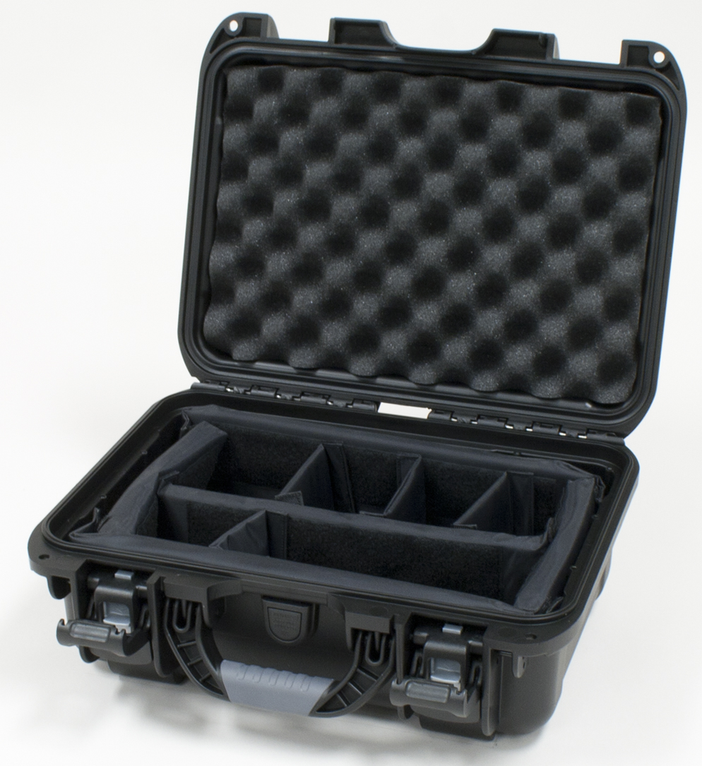 "Gator Cases GU-1309-06-WPDV Black waterproof injection molded case with interior dimensions of 13.8"" x 9.3"" x 6.2"". Internal divider system"