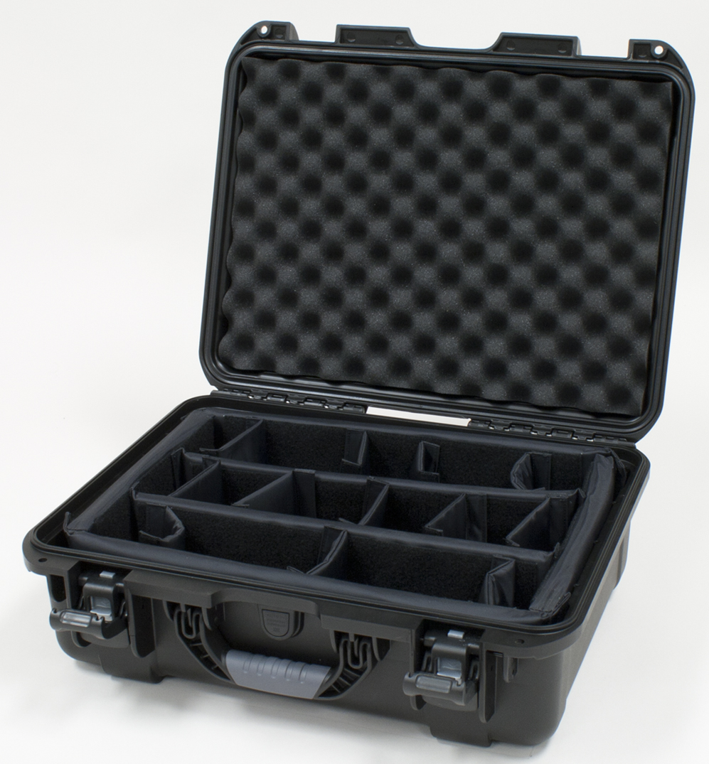 """Gator Cases GU-1813-06-WPDV Black waterproof injection molded case with interior dimensions of 18"""" x 13"""" x 6.9"""". Internal divider system"""