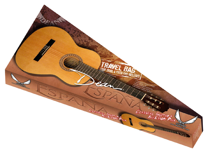 Dean España Pack Traditional Classic Design Acoustic Guitar Package Combo w/ Foot Stool & Gig Bag (PC PK)
