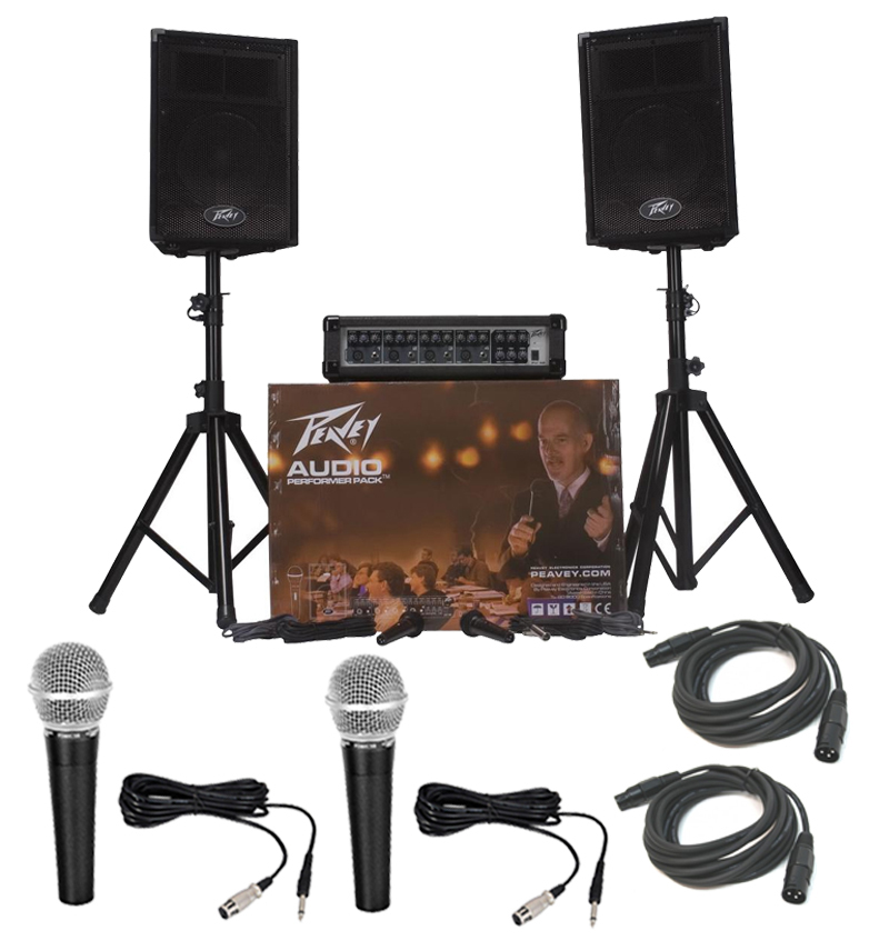 peavey audio performer pack pro audio dj portable pa mixer system with 2 pyle mics xlr. Black Bedroom Furniture Sets. Home Design Ideas