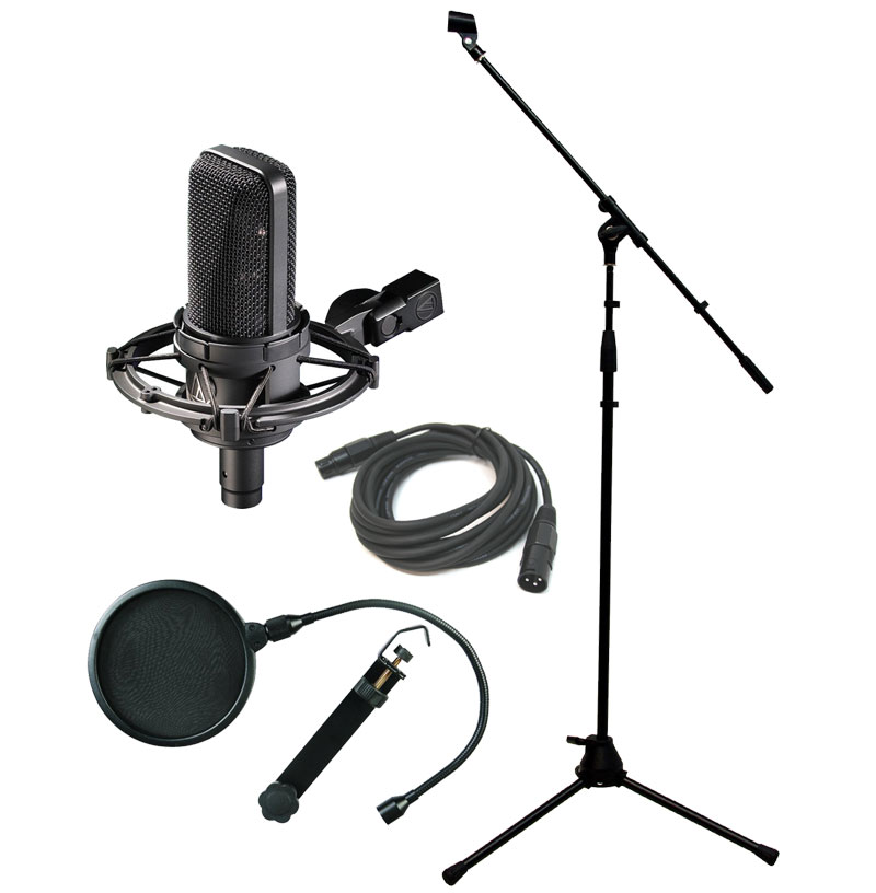 audio technica at4033 cl condenser vocal studio microphone with boom mic stand pop filter. Black Bedroom Furniture Sets. Home Design Ideas