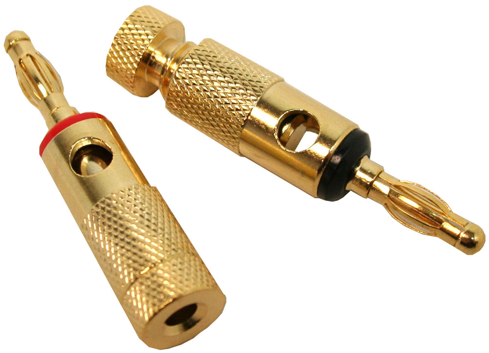 Home Audio Theater (1 Red & 1 Black) Stereo Speaker Gold Plated Banana Plug Connectors Pair