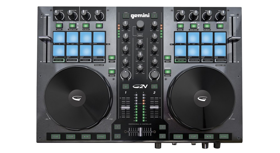 Gemini G2V Two Channel Virtual DJ USB/MIDI Controller with 24-Bit PC/MAC Audio Interface