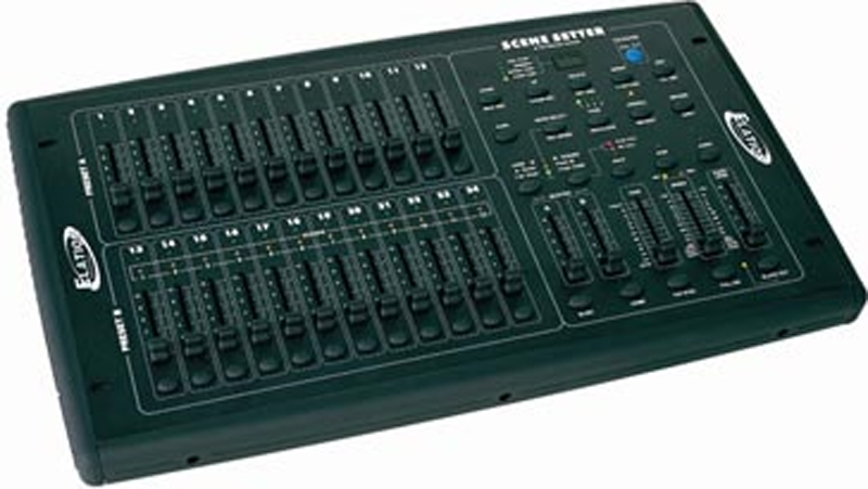 elation scene setter 24 24 channel stage dimmer console with 24 total dmx 512 channels scene. Black Bedroom Furniture Sets. Home Design Ideas