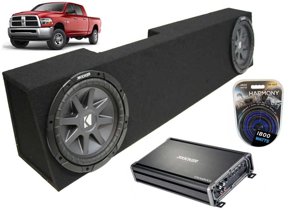 "Dodge Ram 2006-2013 Mega Cab Truck Dual 10"" Kicker CompVR CVR10 Sub Box with CX1200.1 Amplifier & 4GA Amp Kit"