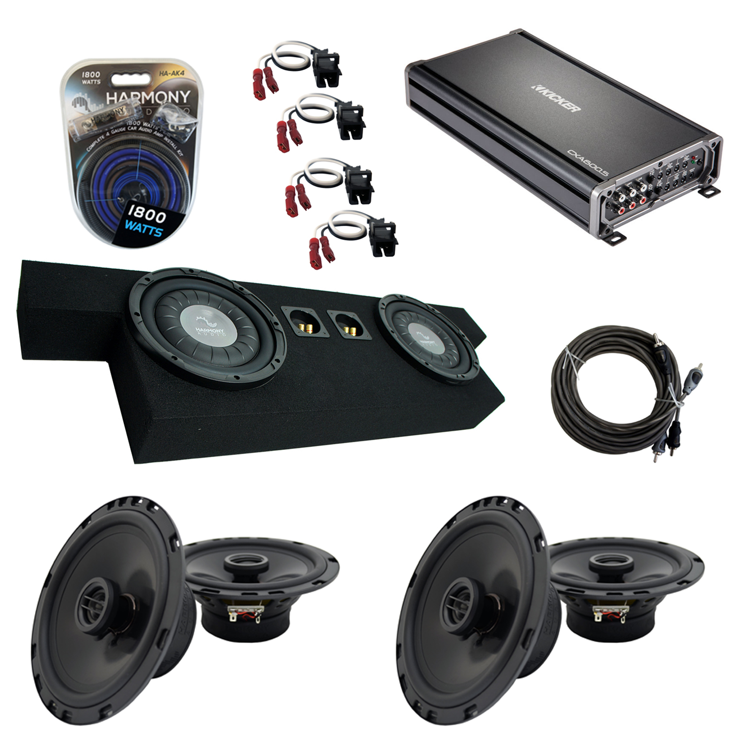 "Compatible with GMC Canyon 2004-2012 Crew Cab Truck Harmony Dual 10"" Sub Box Speakers & Amp"