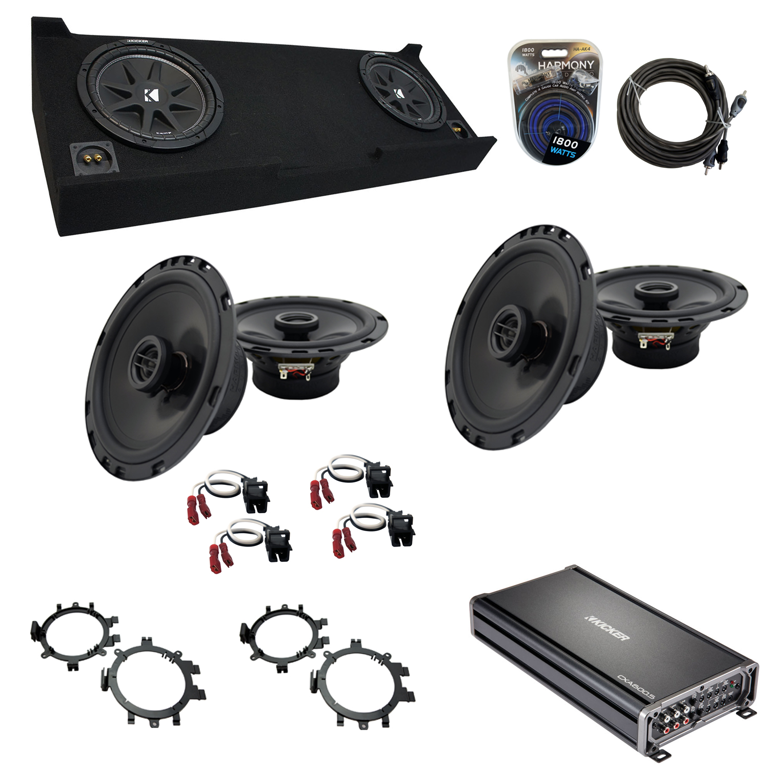 """Compatible with GMC Sierra 2007-2013 Crew Cab Truck Kicker Dual 10"""" Sub Box Speakers & Amp"""