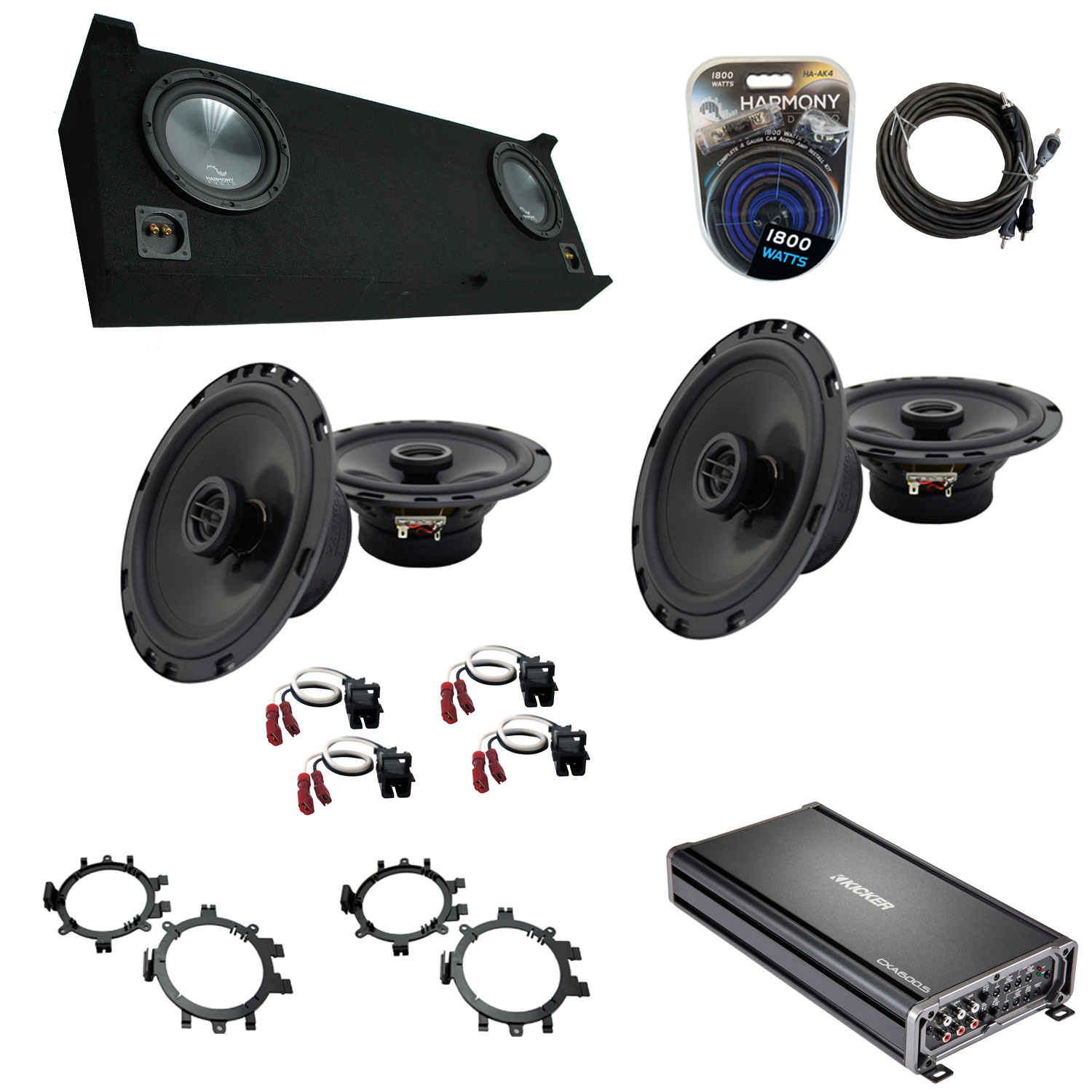 """Compatible with GMC Sierra 2007-2013 Crew Cab Truck Harmony Dual 10"""" Sub Box Speakers & Amp"""