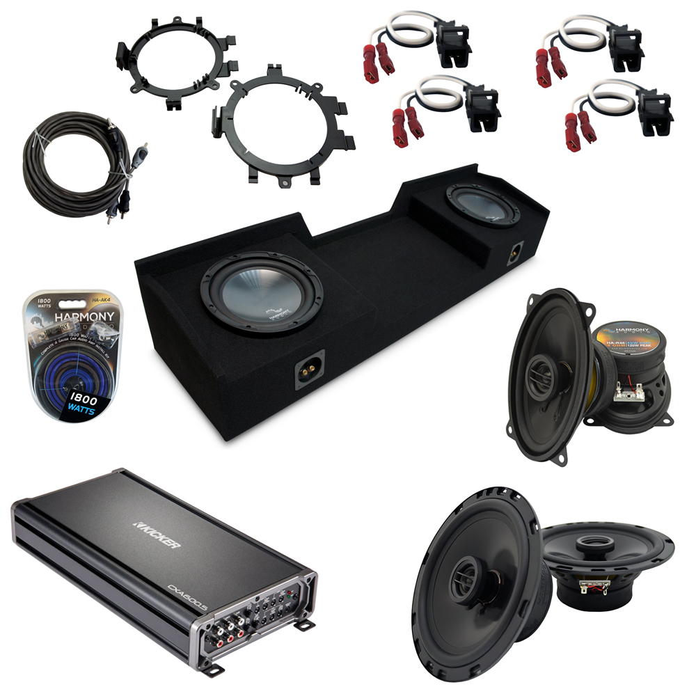 """Compatible with GMC Sierra 1999-2006 Ext Cab Truck Harmony Dual 10"""" Sub Box Speakers & Amp Pack"""