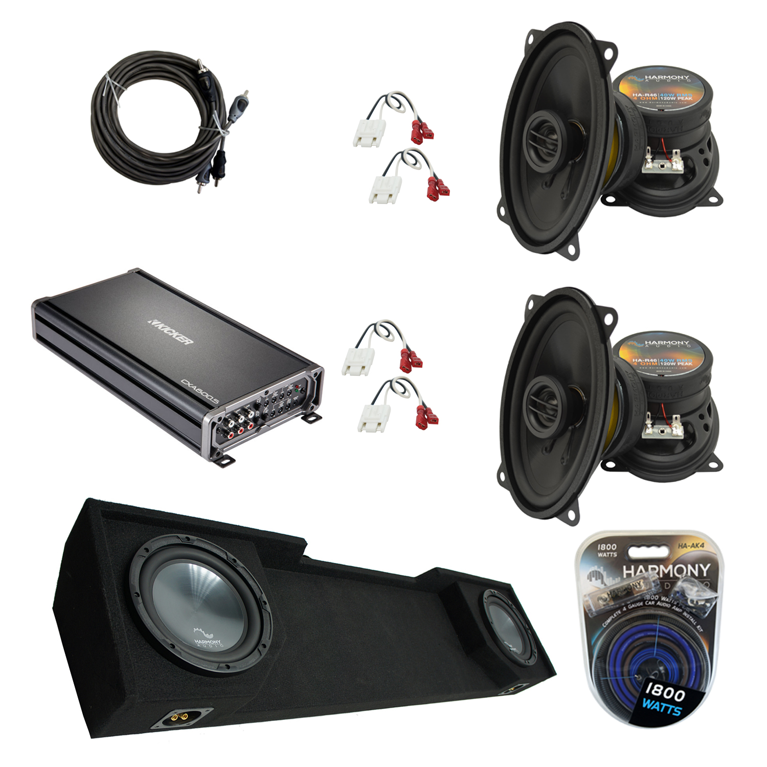 """Compatible with GMC Sierra 1988-1994 Extended Cab Truck Harmony Dual 10"""" Sub Box Speakers & Amp"""