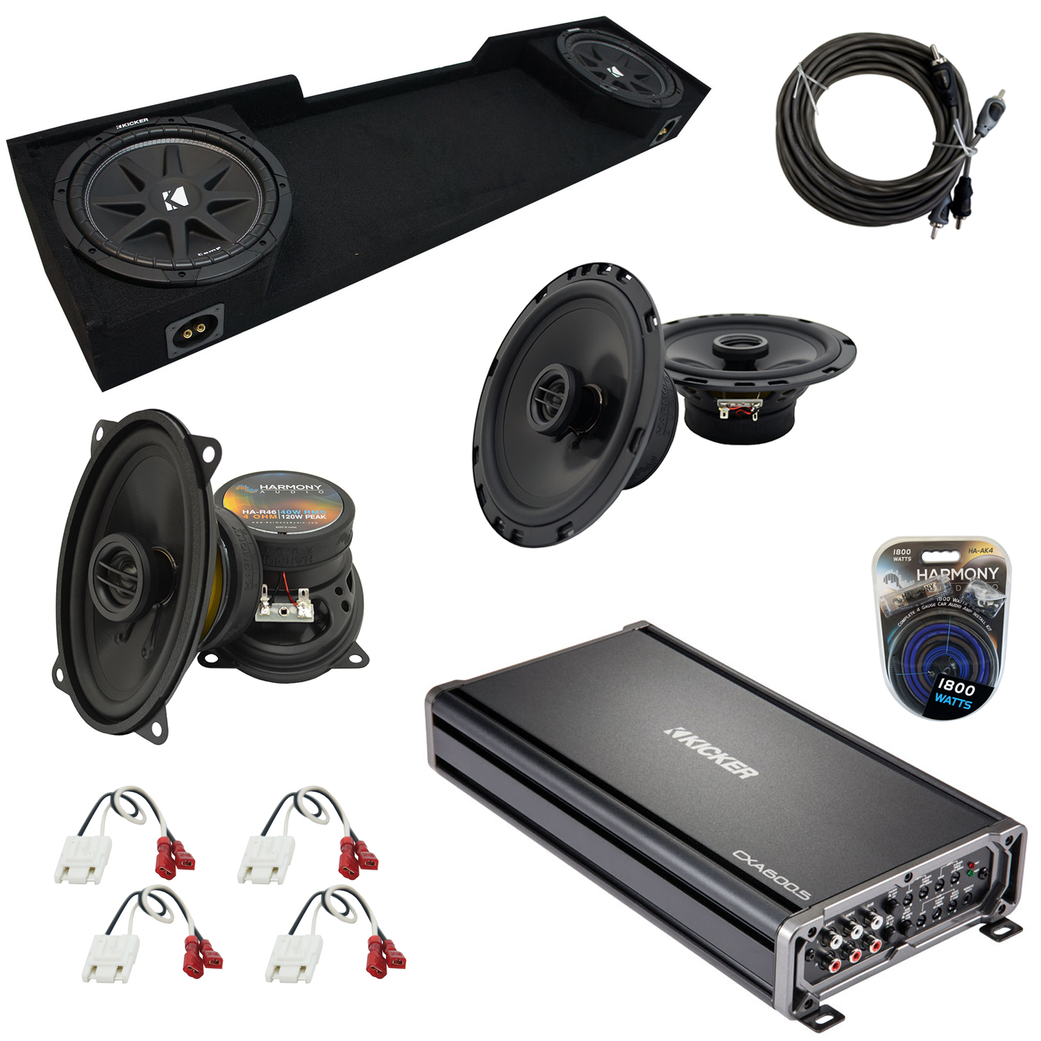 """Compatible with GMC Sierra 1995-1998 Extended Cab Truck Kicker Dual 10"""" Sub Box & Speakers"""