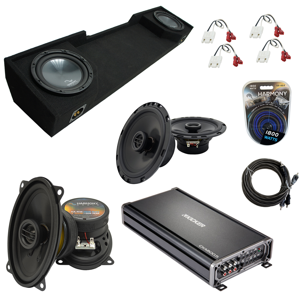 """Compatible with GMC Sierra 1995-1998 Extended Cab Truck Harmony Dual 10"""" Sub Box & Speakers"""