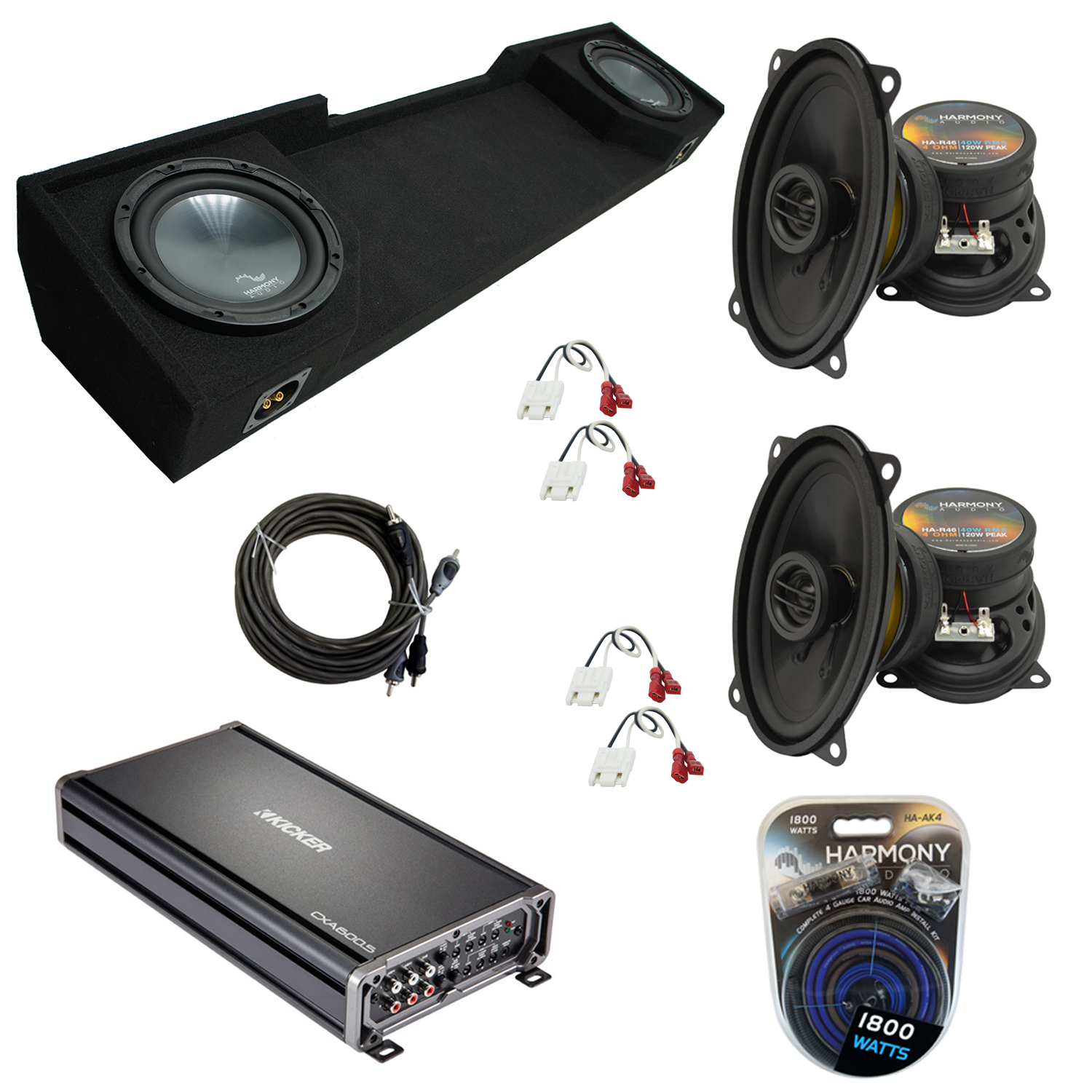 """Compatible with GMC Sierra 1988-1994 Extended Cab Truck Harmony Dual 12"""" Sub Box Speakers & Amp"""
