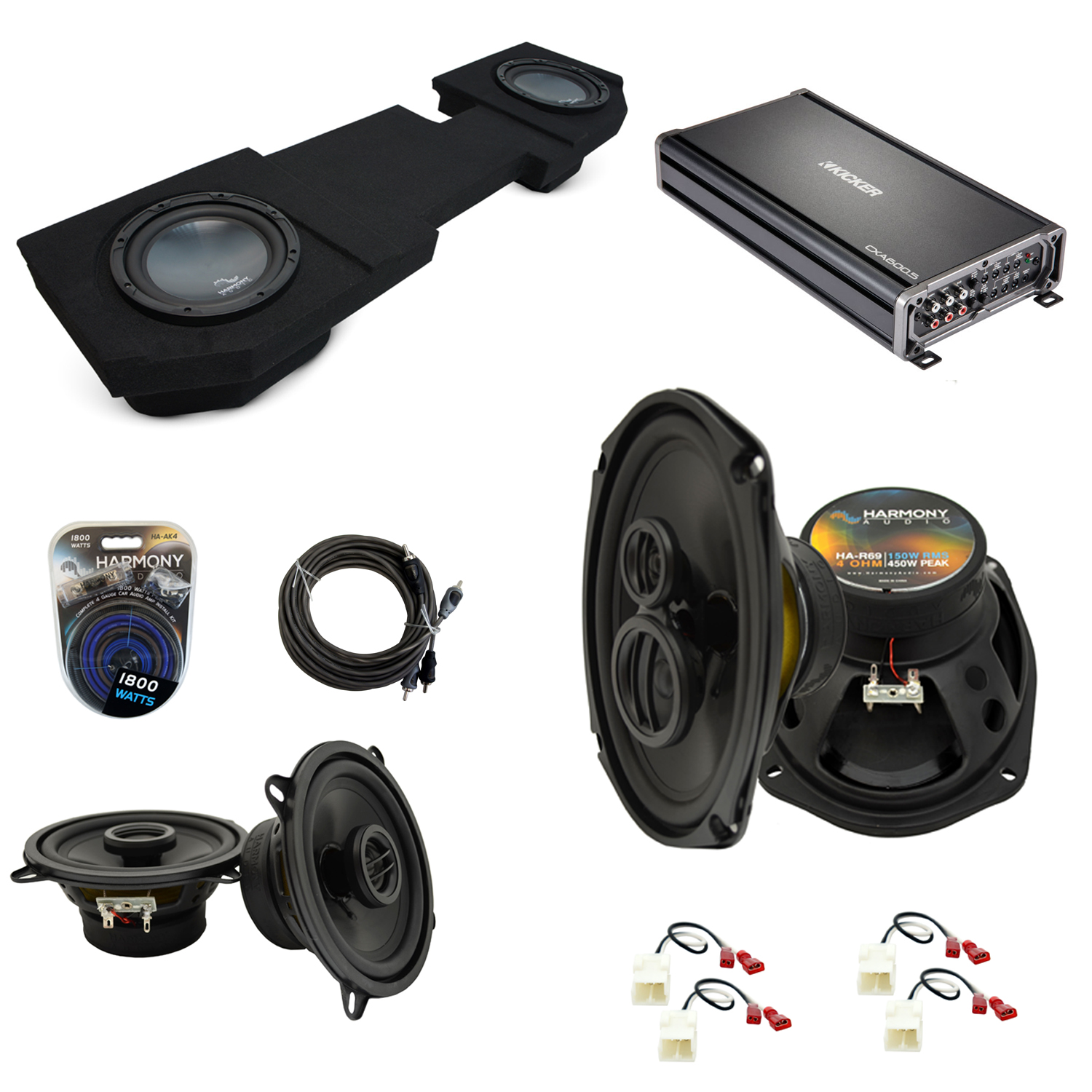 """Compatible with Dodge Ram 2002-2015 Quad or Crew Harmony Dual 10"""" Sub Box & Speakers Pack"""