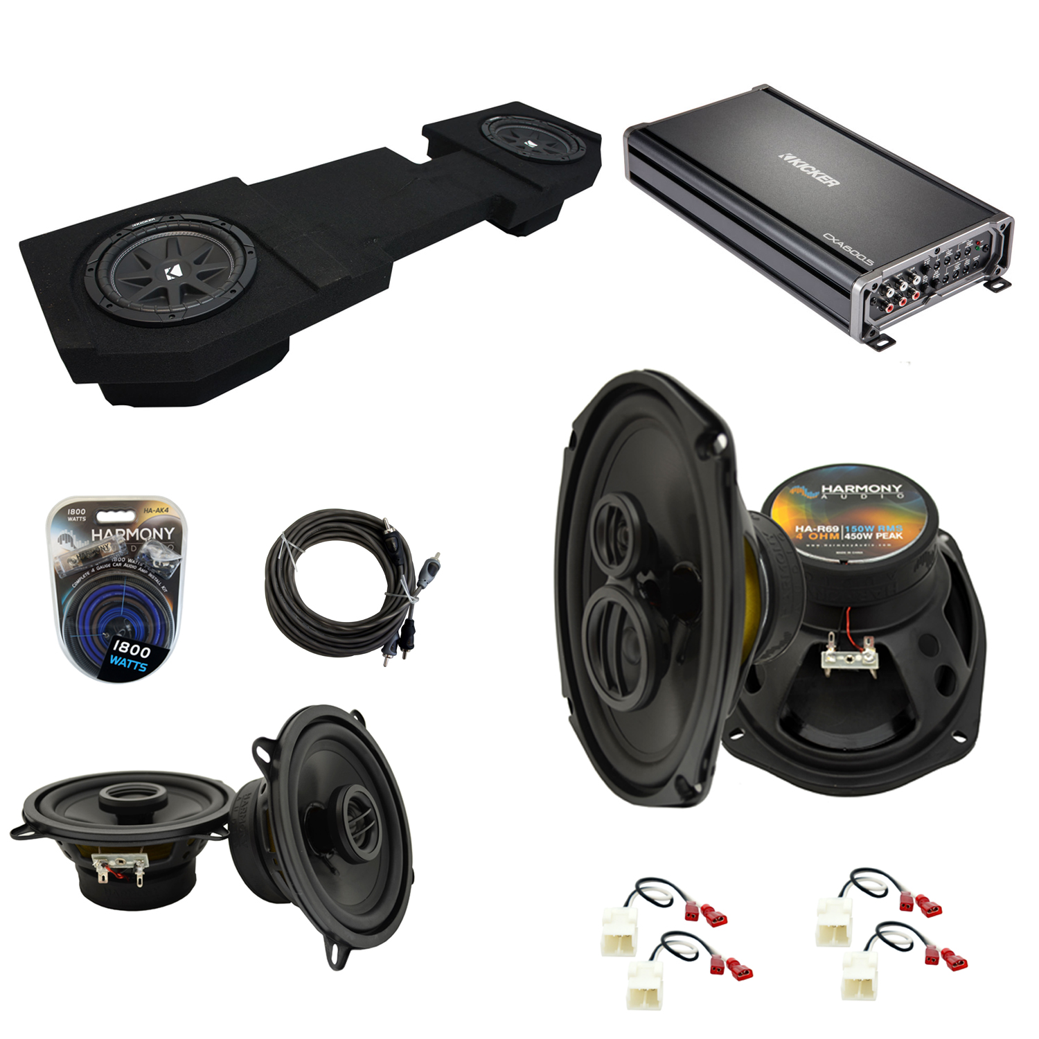 """Compatible with Dodge Ram 2002-2015 Quad or Crew Kicker Dual 12"""" Sub Box & Speakers Pack"""