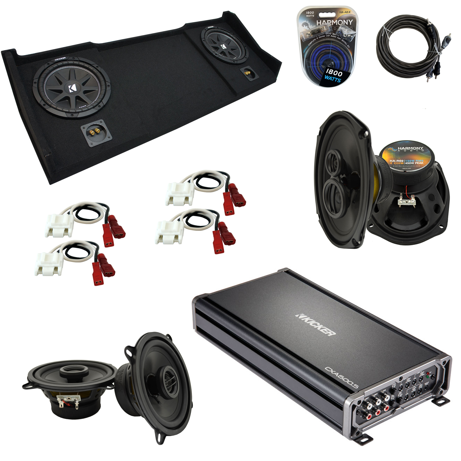 """Compatible with Dodge Ram 1998-2001 Ext or Club Cab Kicker Dual 10"""" Sub Box Speakers & Amp"""
