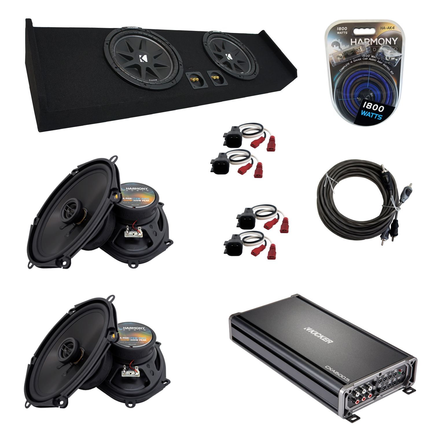 "Compatible with Ford F-150 2009-2015 Super Crew Truck Kicker Dual 10"" Sub Box Speakers & Amp"