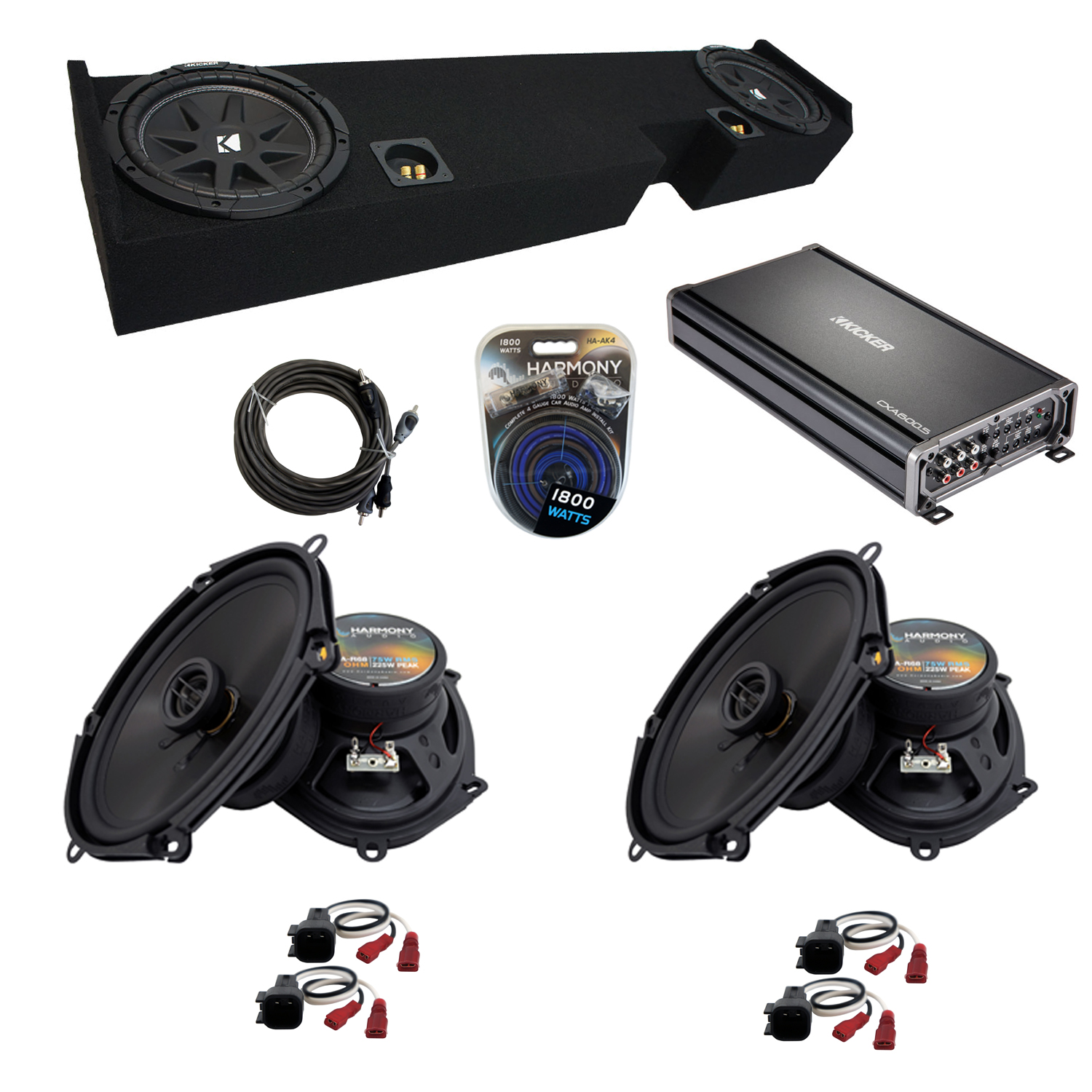 """Compatible with Ford F-250 F-350 2001-2014 Super Cab Truck Kicker Dual 10"""" Sub Box & Speakers"""