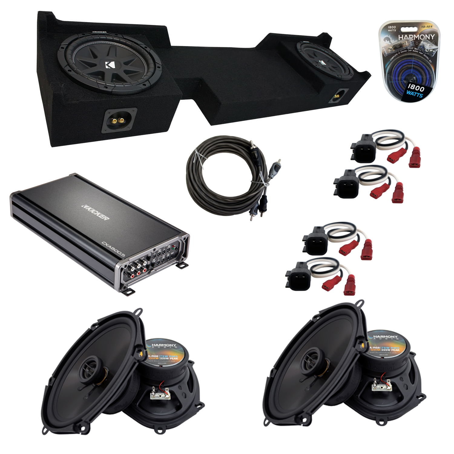 "Compatible with Ford F-150 2004-2008 Super Cab Truck Kicker Dual 10"" Sub Box Speakers & Amp Pack"
