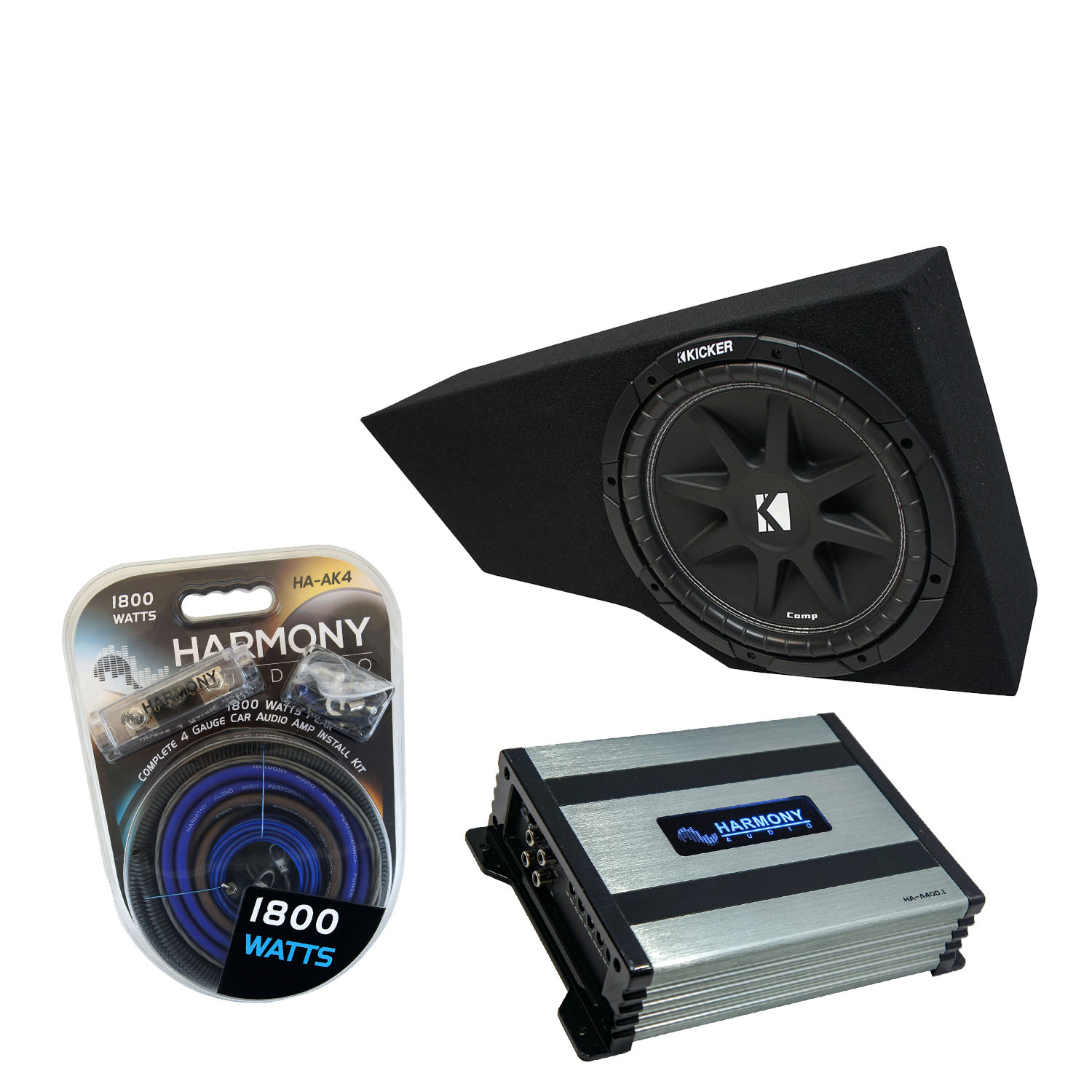 """Compatible with 2002-2013 Cadillac Escalade EXT Underseat Harmony R104 Dual 10"""" Sub Box Bundle with Harmony HA-A400.1 Amp & Install Kit"""