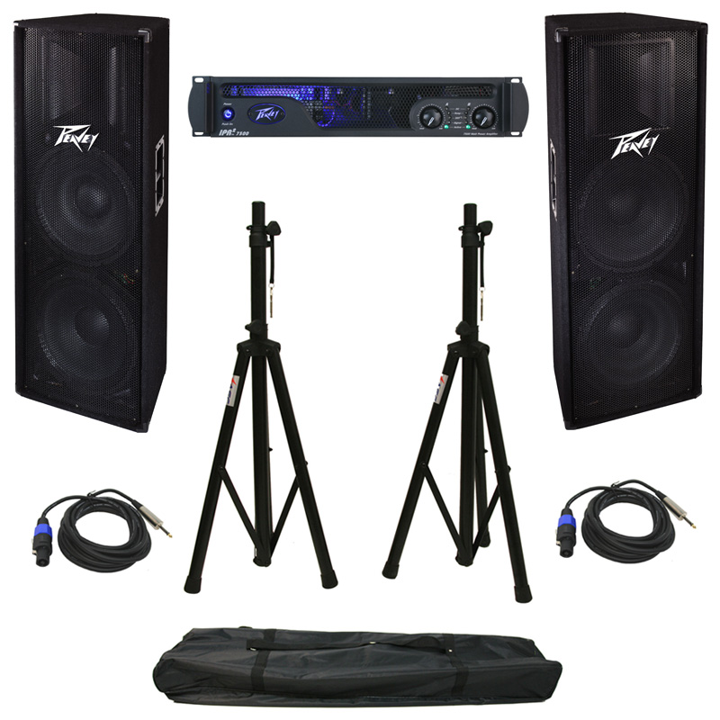 """Peavey IPR2 7500 Pro Audio PA Speaker Power Amplifier 3000 Watt Amp with Stands, (2) Speakon to 1/4"""" Cables & (2) PV 215 Speakers"""