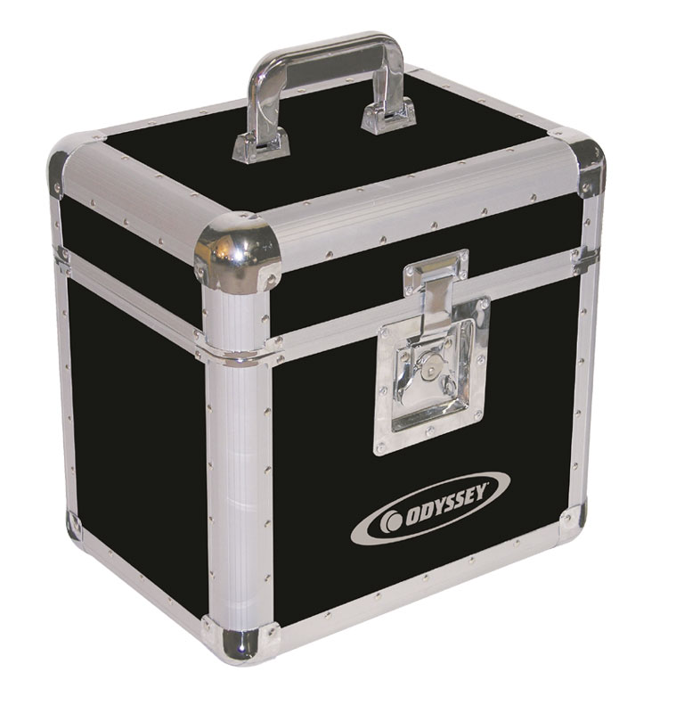 Odyssey Cases KLP1-BLK Black KROM Series LP DJ Case Holds 70 LPs w/ Foam-Lined Interior Compartment