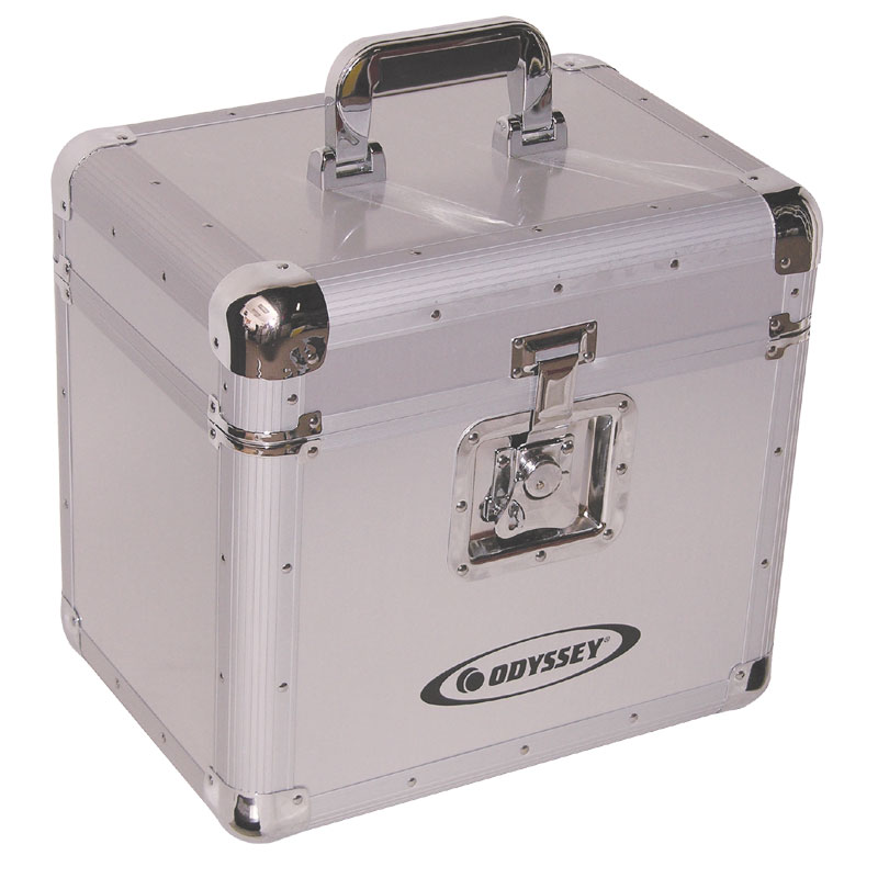 Odyssey Cases KLP1-SIL Silver KROM Series LP DJ Case Holds 70 LPs w/ Foam-Lined Interior Compartment