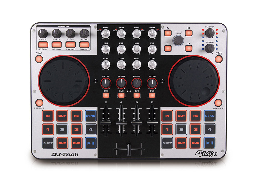 DJ Tech 4Mix 4-Channel Controller with Audio Interface Built in Connectors