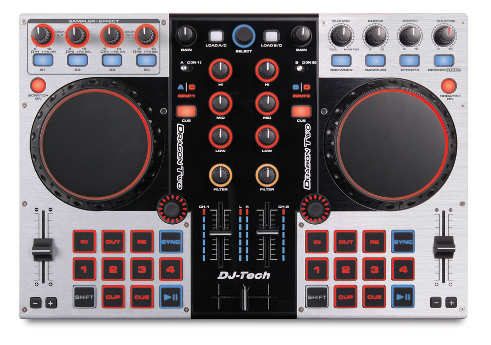 DJ Tech Dragon Two Professional 4-Channel Digital DJ Controller and Mixer