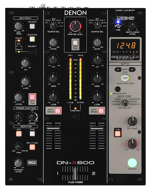 Denon DJ DN-X600 2-Channel Digital Mixer with MIDI Interface & Sound Card (DNX600) - Limited Quanities!