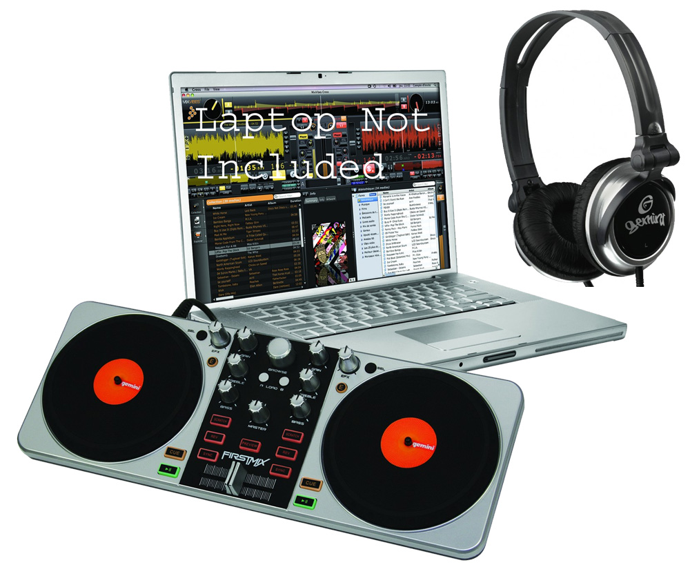 Gemini Pro Audio DJ FIRSTMIX Scratch Computer Software USB MIDI Controller with $30 Monitor Headphones