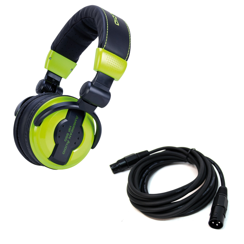 american dj hp550 lime over ear headphones with 15 foot active speaker mic cable ppackage 1243. Black Bedroom Furniture Sets. Home Design Ideas