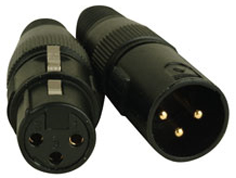 Elation ACXLR3PSET 3 Pin 1 Male & 1 Female XLR Connectors w/ Gold Pins