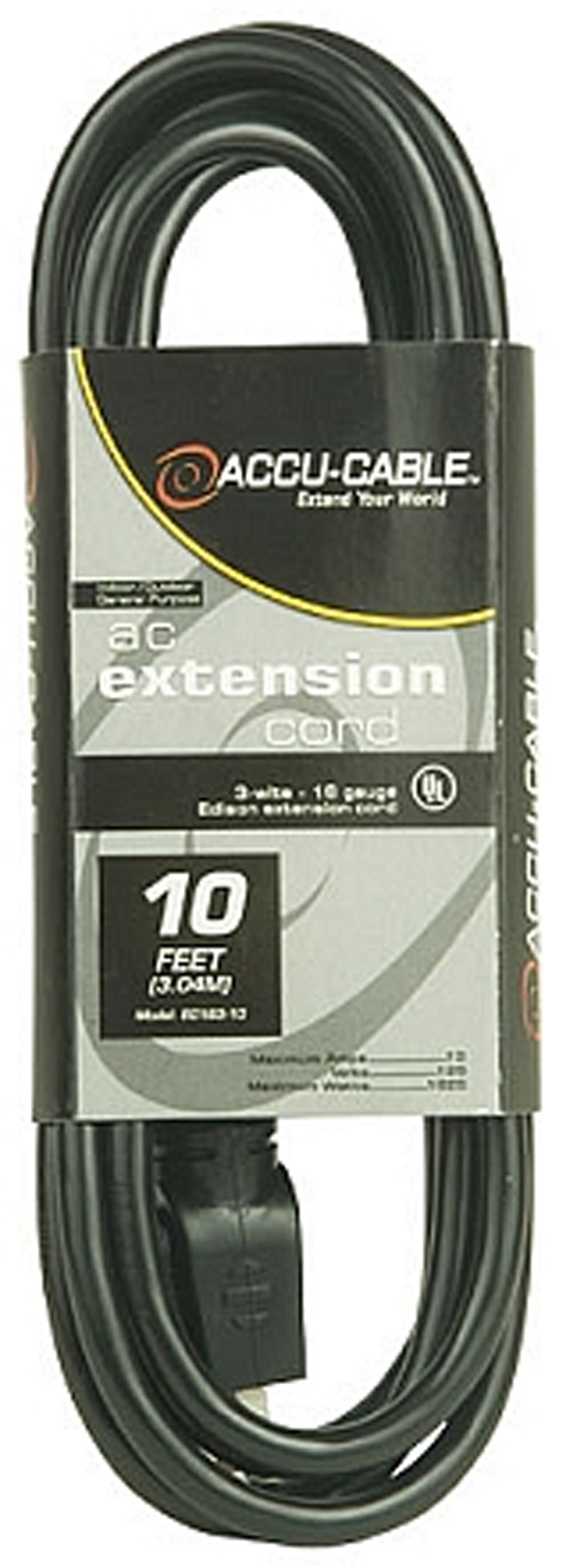 Elation EC163-10 10' Black 16/3 Gauge Extension Cord