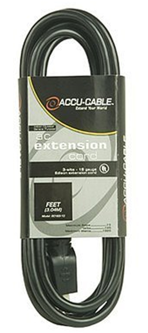 Elation EC163-50 Power Extension Cable 16 Gauge 50Ft Black Cord
