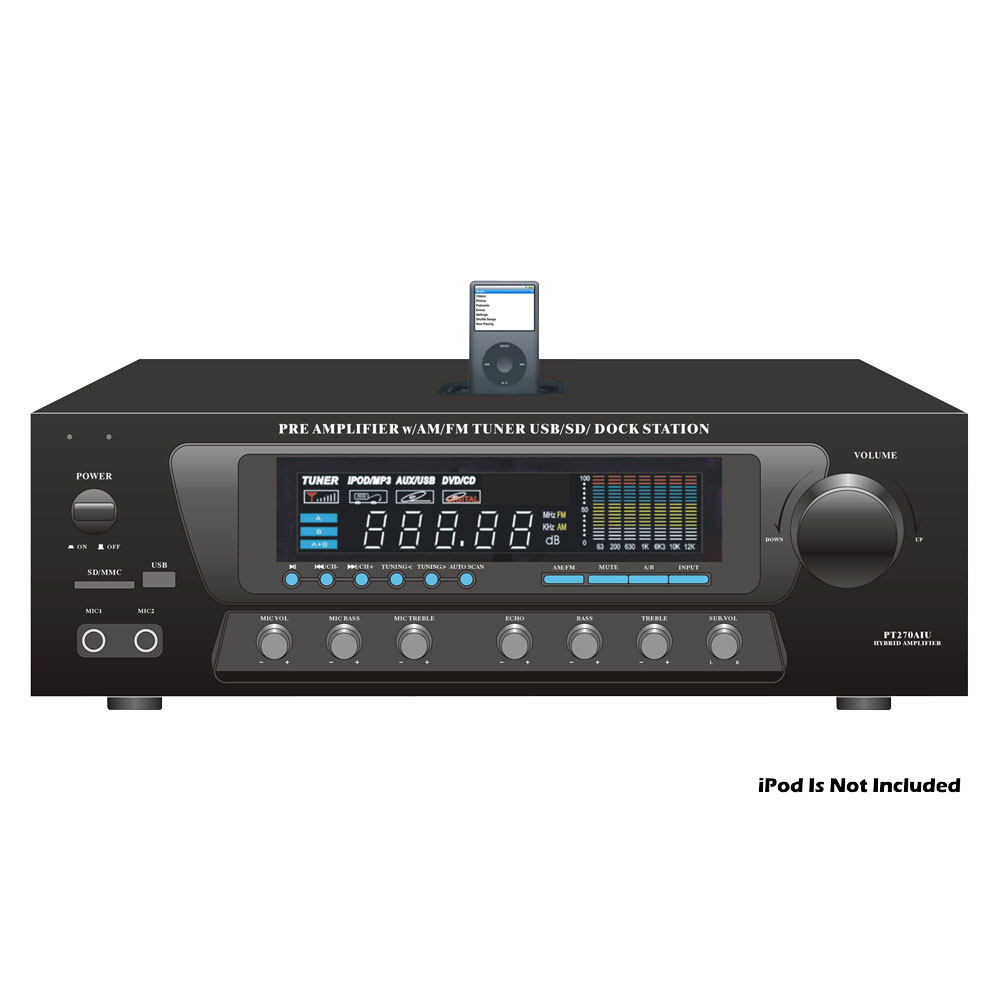Pyle Home Audio PT270AIU 120 Watts Pre Amplifier with AM/FM Tuner USB/SD Dock Station