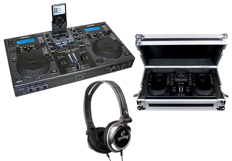 DJ Package Cortex DMIX-600 Pro iPod Digital Media Controller with Study Gig Carry Case & Monitor Over Ear Headphones System